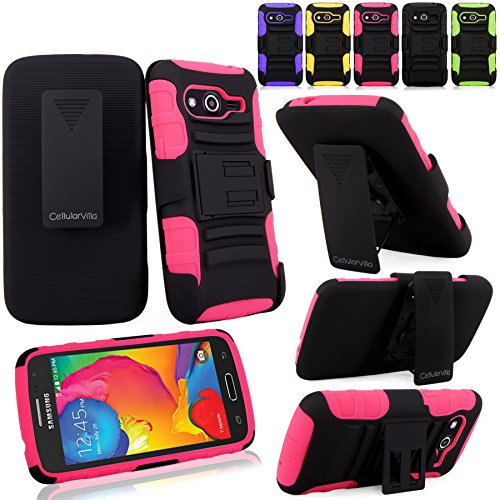 Samsung Galaxy Avant Case - Cellularvilla Hard Soft Dual Layer Hybrid Armor Holster Kickstand Case with Locking Belt Swivel Clip Cover for Samsung Galaxy Avant G386 (T-Mobile) (Pink Black)