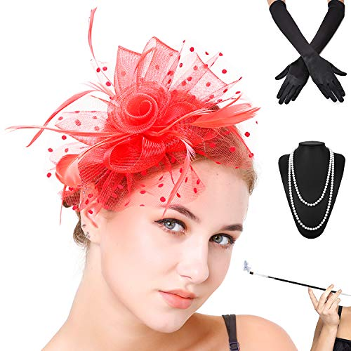 (Fascinators Pillbox Tea Hat for Women Tea Party Accessories Set - Kentucky Derby Headband,Gloves, Long Cigarette Holder (OneSize, 3-Red))