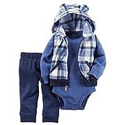 Carter's Baby Boys' 3 Piece Vest Set (Baby), Blue Plaid, 3 Months