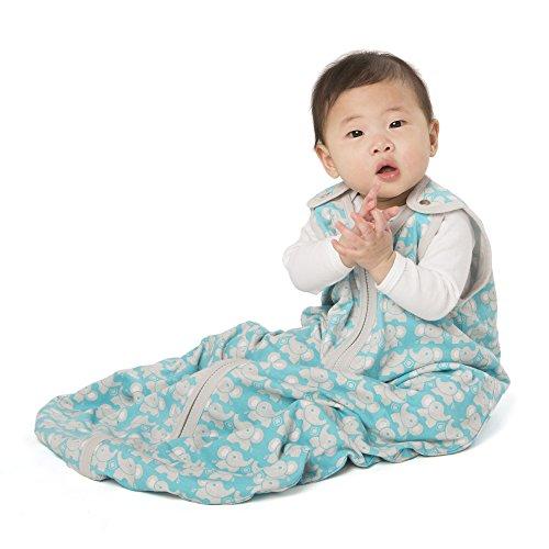 (baby deedee Sleep Nest Lite, Sleeping Bag Sack - Teal Elephant, L (18-36 Months))