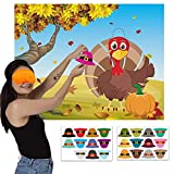 Happy Storm Thanksgiving Party Games Pin The Hat on The Turkey Fall Festival Birthday Party Supplies Favors for Kids Thanksgiving Pin Game with 24 Hat Reusable Stickers Party Activities