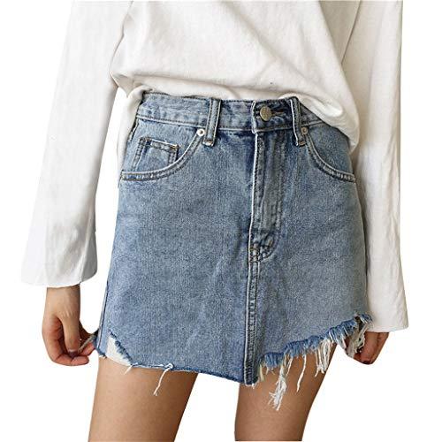 Riuda Women Casual Broken Hole Raw Cowboy Irregular Pocket Solid Zipper Button A-Line Jean Skirt -
