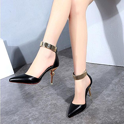 Black Sexy Pumps Heel Strap Court Heels High Party Sandals Toe Women's Ankle Shoes Wedding Shoes Stiletto Pointed Dress P0CqpTxnw7