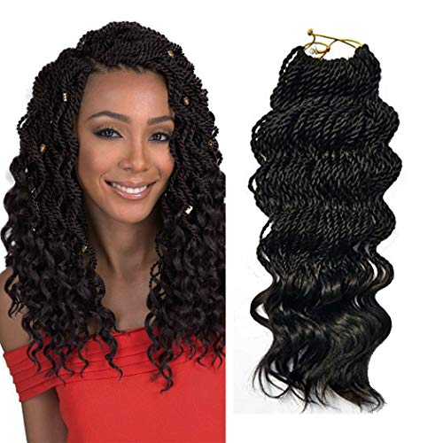 Black 35 Strands wavy senegalese twist hair crochet braids curly Synthetic Ombre Crochet Braiding Hair Extensions 6 packs/lot