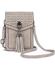 SunForMorning Bolso bandolera hueco para teléfono celular para mujer, estilo vintage, pequeño mensajero, bolso de hombro