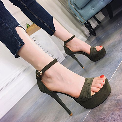 con altos sandalias Moda C de Dedos atractiva agrietada abiertos mujer Tacones impermeables t80qHy8w