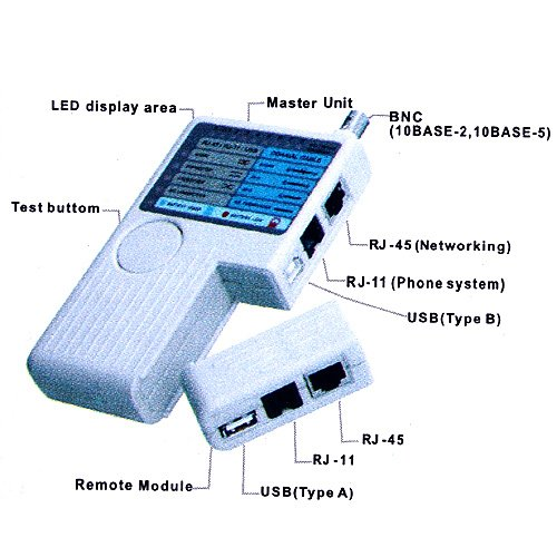 Docooler 4-in-1 Remote RJ11 RJ45 USB BNC LAN Network Phone Cable Tester Meter