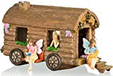 Joykick Fairy Garden Caravan Kit - Miniature Hand Painted Figurine Statues with Accessories - Set of 4pcs for Your House or Lawn Decor