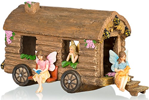 Joykick Fairy Garden Caravan Kit - Miniature Hand Painted Figurine Statues with Accessories - Set of 4pcs for Your House or Lawn Decor for $<!--$68.90-->