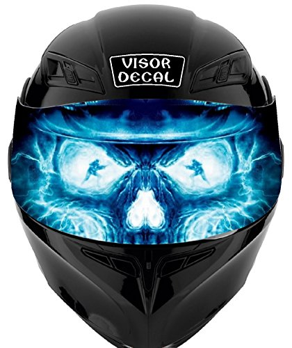 V32 Skull Flames VISOR TINT DECAL Graphic Sticker Helmet Fits: Icon Shoei Bell HJC Oneal Scorpion AGV (Skull Custom Helmets)
