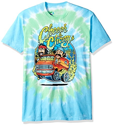 Liquid Blue Unisex-Adult's Cheech and Chong Smokin' Ride Tie Dye Short Sleeve T-Shirt, Multi Colored, X-Large