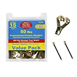 OOK 55509 15-pc Value-Pack 50 Lbs Professional Picture Hangers - Museum Quality - Won't Damage Walls - Photos Mirrors Clocks Artwork Frames by OOK