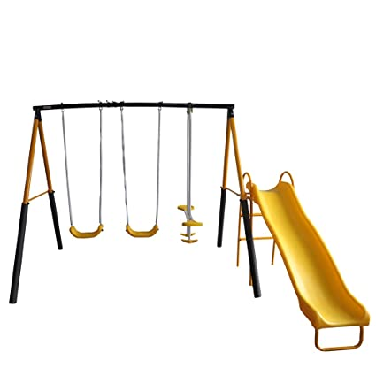 Good YONGCUN Childrenu0027s Garden Swing Outdoor Childrenu0027s Swing Set Outdoor Toys 2  Swings 1 Glider ...