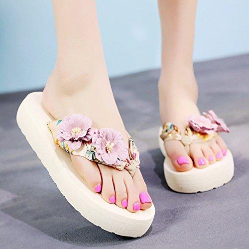 sandalias libre FLYRCX gruesa Pendiente a aire resbaladiza zapatillas playa flip de flops de al con moda verano señoras de suela tPRArnPqw