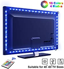 Tira LED TV 2.2M, OMERIL 5050 Tiras LED USB Impermeable con Control Remoto, 16 RGB Colores y 4 Modos, Retroiluminacion...