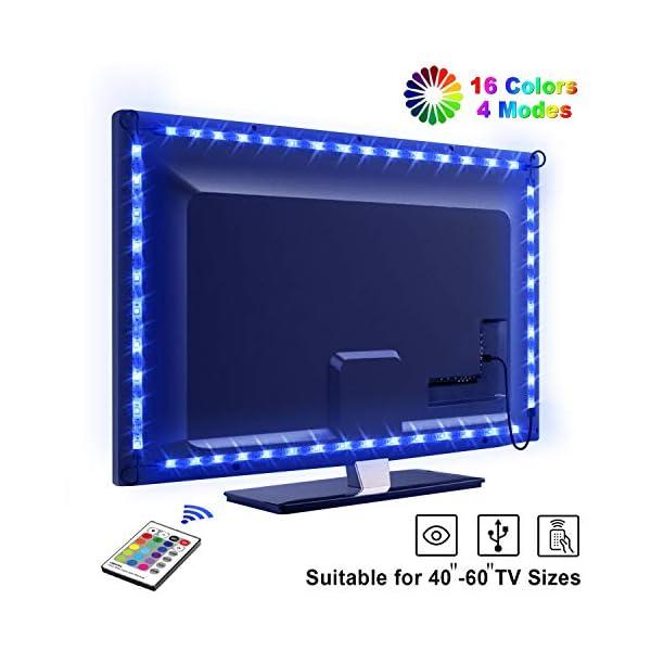 """LED TV Lightstrip Etanche avec Télécommande, OMERIL Ruban LED RGB 5050 Alimenté par USB, 2.2M Bande Lumineux 16 Couleurs et 4 Modes pour 40""""-60"""" HDTV/PC Monitor [2x50cm+2x60cm] 1"""