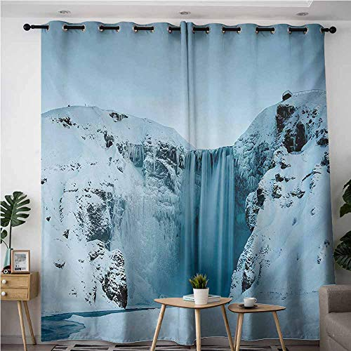 (AndyTours Window Curtain,Waterfall,Darkening Thermal Insulated Blackout,W108x72L,Petrol Blue)