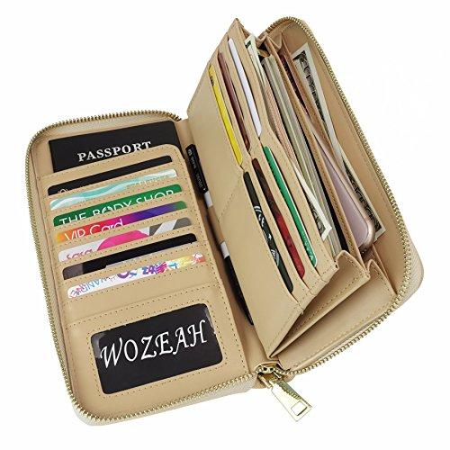 WOZEAH Women's RFID Blocking PU Leather Zip Around Wallet Clutch Large Travel Purse (Large Zip Wallet)