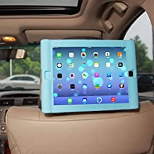 TFY Kids Car Headrest Mount Holder for iPad 4 / iPad 3 / iPad 2 - Detachable Lightweight Shockproof Anti-slip Soft Silicone Handle Case - Blue