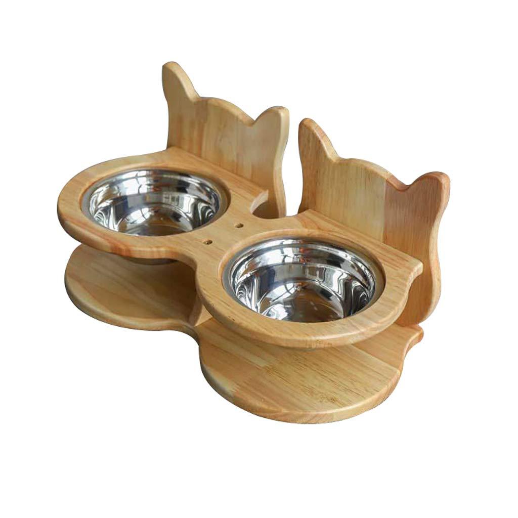 Double bowl B Pet Bowl,Pet Cat Dining Table,Platform Pet Feeder, Elevated Cat Feeder Raised Cat Bowl, Wood, Ceramic Bowl (Size   Double Bowl B)