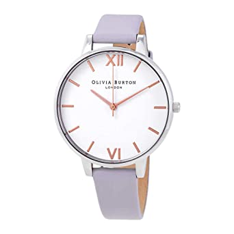 56342dd08 Image Unavailable. Image not available for. Color: Olivia Burton Big Dial  White Dial Violet Leather Ladies Watch OB16BDW37