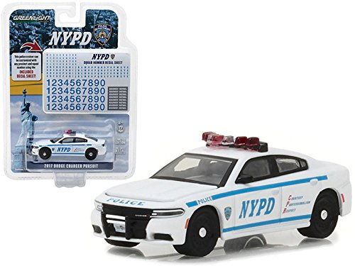 Greenlight 42821 2017 Dodge Charger Pursuit Police New York Police Department (NYPD) with NYPD Squad Number Decal Sheet Hobby Exclusive 1/64 Diecast Model ()