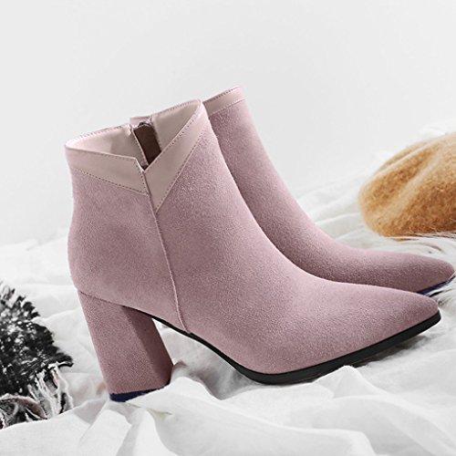 Stiefel weibliche Winter dicke hochhackige rosa Echtleder Stiefel kurze spitze Herbst und XZ vqfnFUfB
