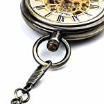 Retro Pocket Watch for Mens Wooden Open face Steampunk Skeleton Mechanical with Chain + Box 14