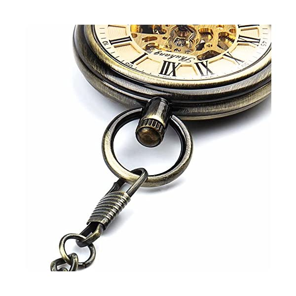 Retro Pocket Watch for Mens Wooden Open face Steampunk Skeleton Mechanical with Chain + Box 8