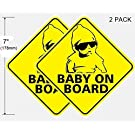 "(2 Pack) 7"" high Baby On Board Vehicle Car Window Safety Warning Security Alert Sticker Decals **Back Self Adhesive Vinyl**"