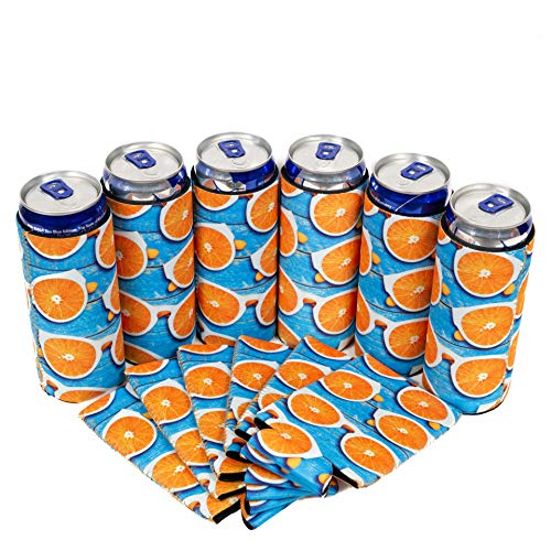 QualityPerfection - Slim Can Cooler Sleeve - Beer Skinny 12 oz Neoprene Coolie - Perfect For 12 oz Slim Red Bull, Michelob Ultra, Spiked Seltzer,Truly - Great For Any Event (6, Orange Sunglasses) from QualityPerfection
