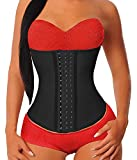 YIANNA Women's Underbust Latex Sport Girdle Waist Trainer Corsets Cincher Hourglass Body Shaper Weight Loss (Black, XS)