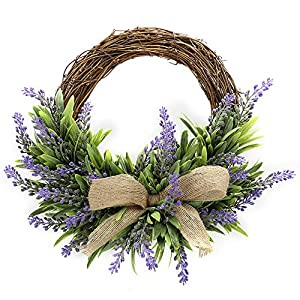 TRRAPLE Artificial Flower Decoration Wreath, 1 Pcs Simulation Lavender Wreath, Artificial Christmas Fake Flower Decoration Garland with Bow-Knot Ornament for Front Door Wall Mirror Window 1