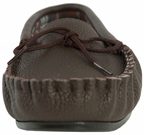 Mocassins en cuir traditionnels avec semelle en PVC. Marron