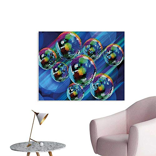 Photographic Fantasy Art - Tudouhoho 70s Party Cool Poster Colorful and Funky Vibrant Disco Balls in Abstract Night Club Dancing Theme Art Photographic Wallpaper Multicolor W36 xL32