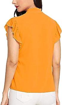 OHQ Camiseta Tops Mujer Corbata De Lazo Manga Corta con Pajarita ...