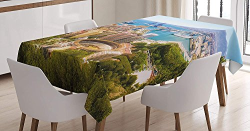 Happy Sunday Cotton Linen Fabric Landscape Tablecloth, Aerial View Malaga Bullring Harbor Spain Traditional European City, Dining Room Kitchen Rectangular Table Cover, Multicolor60'' x 90'' by Happy Sunday