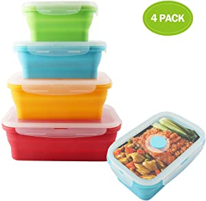 VIGIND Set of 4 Collapsible Foldable Silicone Food Storage Container With BPA Free, Leftover Meal Box With Airtight Plastic Lids For Kitchen, Bento Lunch Boxes-Microwave, Dishwasher and Freezer Safe