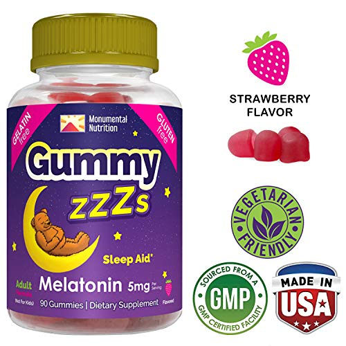 GUMMY ZZZs Melatonin Sleep Aid Fruit Chews •Vegetarian •Adults, Men, Women •Gelatin-free •Vegan-friendly •NonGelatin, Gluten-free •Non-GMO •Kosher/Halal Friendly •5mg •90 ct Zzz