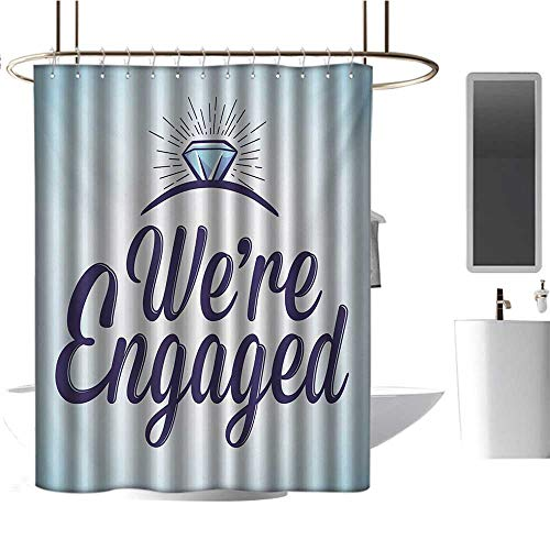 Qenuan Shower Curtain Engagement Party,We are Engaged Announcement Quote Wedding Ring Celebration,Sky Blue and Navy Blue,Machine Washable - Shower Hooks are Included 60