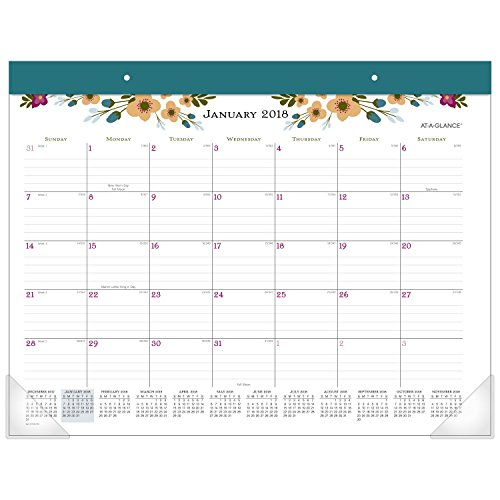 "AT-A-GLANCE Monthly Desk Pad Calendar, January 2018 - January 2019, 21-3/4"" x 17"", Paper Posie (D145-704)"