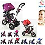 G4RCE Premium Quality 4 in 1 Smart Design 3 Wheeler Trike Rider Tricycle Kids Trike With Rotating Seat UK (Purple)
