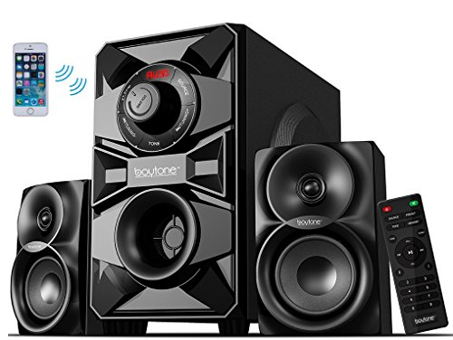 Boytone BT-328F, 2.1 Wireless Bluetooth Multi Media speaker, powerful home theater speaker systems, FM Radio, SD, USB ports, AUX, DVD input, 2500 watts PMPO, remote control, for smartphone, Tablet