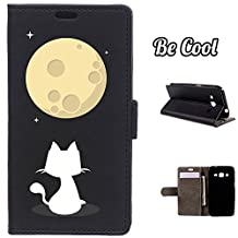 BeCool® - Flip Cover Case Samsung Galaxy Core Prime [ Viewing Stand ] Black Elegant Wallet , protects and adapts flawlessly to your Smartphone, together with our exclusive designs. Cat watching the moon