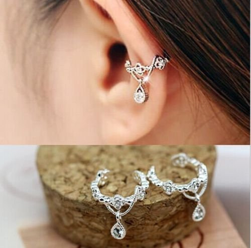 Price comparison product image Women Ear Cuff Wrap Rhinestone crystal Clip On Earring Jewelry silver one