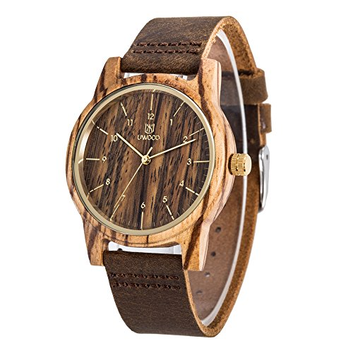 Uwood Men's Wooden Watch Handmade Classic Wooden Quartz Movement Casual Wrist Watch with Cowhide Leather,Christmas Gift (A)