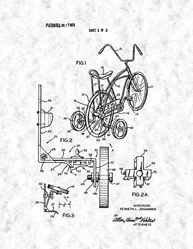Retractable Bicycle Training Wheels Patent Print Gunmetal (13