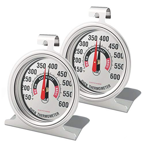 Efeng 2 Pack Oven Thermometer for Electric Oven Gas Oven - Professional Safety Leave- in Oven Thermometer with Large Numbers Shows Marked temperatures for Oven/Grill/Smoker Monitoring