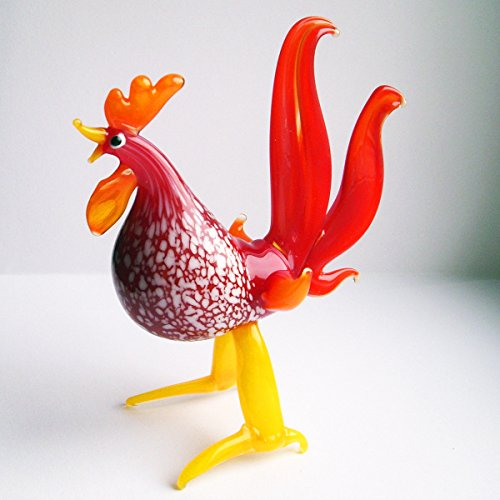 Glass Red Rooster - Hand Blown Art Glass Murano-Style Figurine - Red Fire Rooster.