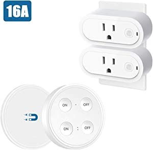 LoraTap Remote Control Outlet Plug Adapter (2 Pack) with Dual Remote, 100ft Range Wireless Switch for Lights and Household Appliances, No Hub Required, 16A/1760W, White, 2 Years Warranty